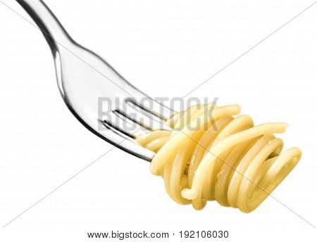 Fork just spaghetti background isolated closeup food