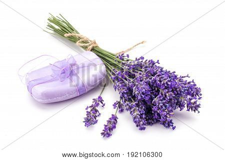 Lavander and soap isolated on white background.