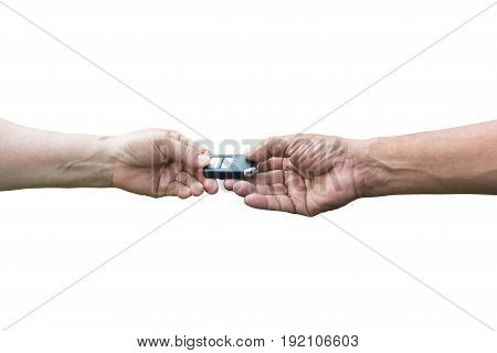 Close up Man giving car remote key to woman Isolated White Background.