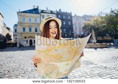 Tourist Girl At European City Background