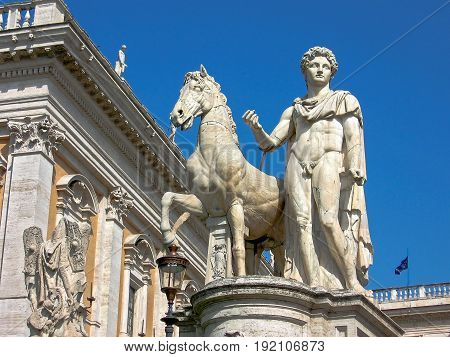 One of the Dioscures. Capitoline Hill (Rome Italy). Statues of the Dioscures were found in the 16th century in the ruins of Pompey's theater and set at the top of the stairs in 1583.