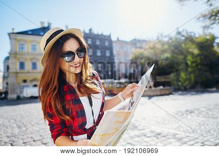 Lovely Tourist Girl In European City