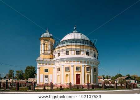 Chachersk, Gomel Region, Belarus. Transfiguration Church. Orthodox Church At Sunny Summer Day In Chechersk