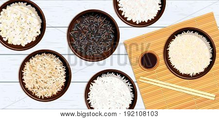 Different types of rice in bowls on white wooden background Basmati, wild, jasmine, long brown, arborio, sushi. chopsticks. Kitchen bamboo mats. Vector illustration. For culinary, fastfood, restaurant