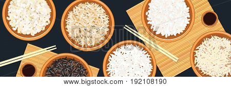 Banner with different types of rice in bowls. Basmati, wild, jasmine, long brown, arborio, sushi. chopsticks. Kitchen bamboo mats, sauce tureen. Vector illustration. top view. For culinary fastfood restaurant