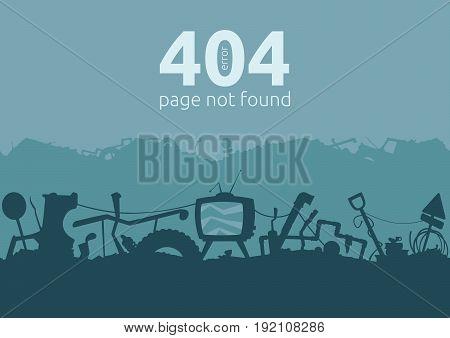 Junkyard Error 404 Page. Seamless silhouette patterns