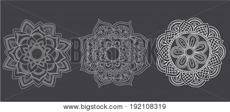 Black Mandalas Set for Coloring. Line mandalas isolated on white background.