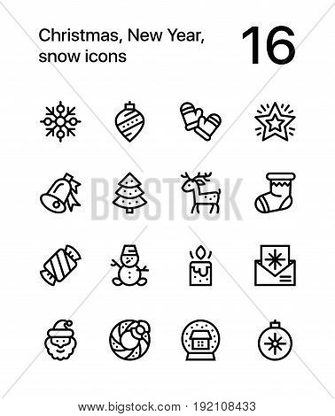 Merry Christmas and Happy New Year icons for web and mobile design pack 3