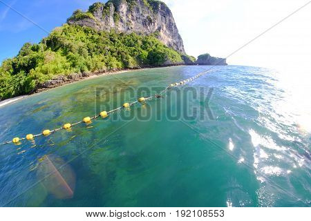 Andaman sea at Islands in Krabi province Thailand crystal clear sea