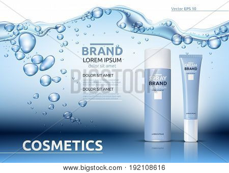 Aqua Moisturizing cosmetics ads template. Hydrating facial or body lotion. Mockup 3D Realistic illustration. Sparkling water drops over blue background
