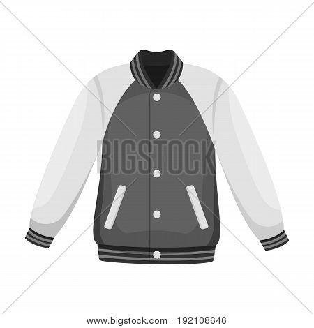Uniform baseball jacket. Baseball single icon in monochrome style vector symbol stock illustration .