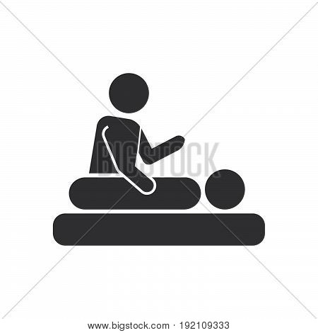 Massage stickmen icon filled flat sign solid glyph pictogram spa services vector illustration