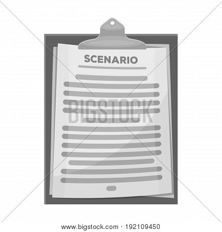 Scenario.Making movie single icon in monochrome style vector symbol stock illustration .