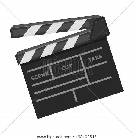 Movie cracker.Making movie single icon in monochrome style vector symbol stock illustration .
