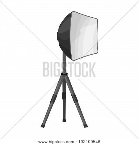 Lighting device on a tripod.Making movie single icon in monochrome style vector symbol stock illustration .