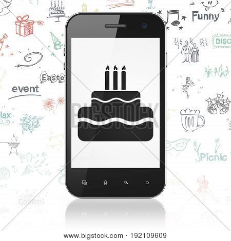 Entertainment, concept: Smartphone with  black Cake icon on display,  Hand Drawn Holiday Icons background, 3D rendering
