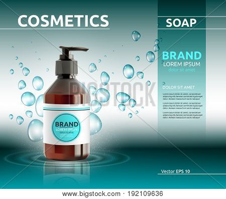 Liquid soap cosmetic ads template. Hydrating body lotion. Mockup 3D Realistic illustration. Sparkling bubbles over blue