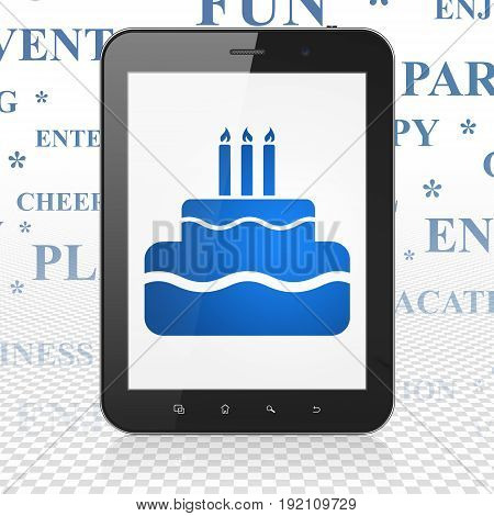 Entertainment, concept: Tablet Computer with  blue Cake icon on display,  Tag Cloud background, 3D rendering