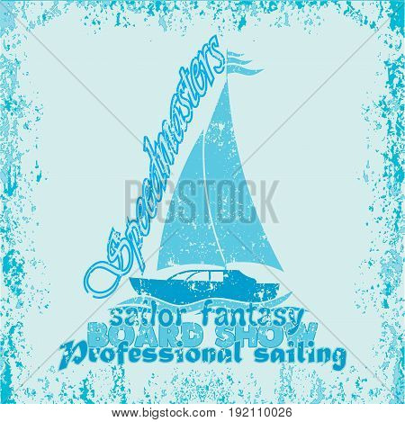 nautical design sailor drawing t-shirt printing badge applique label fully editable image