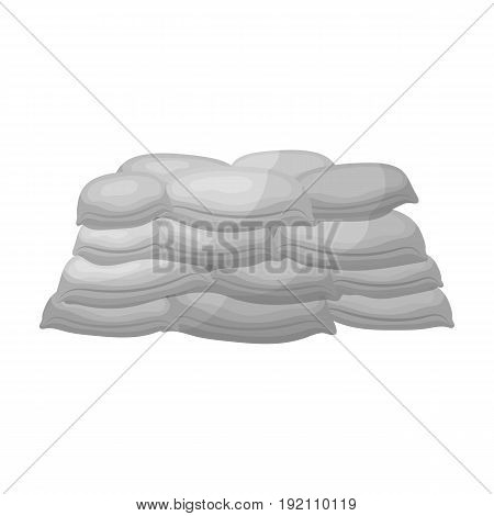 Barricade of bags of sand.Paintball single icon in monochrome style vector symbol stock illustration .