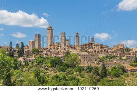 Panoramic View Of San Gimignano Tuscany Italy