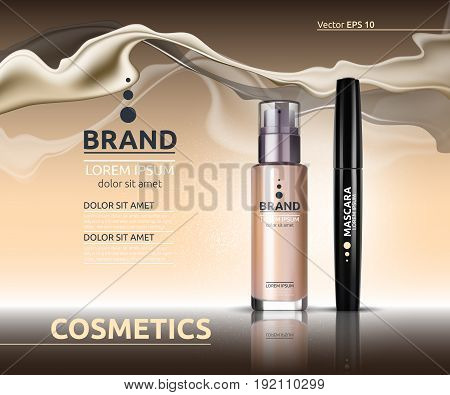 Mascara and Skin toner ads cosmetics. Glass bottle and sparkling effects background. Elegant golden lable for design, template. Mockup 3D Realistic Vector illustration