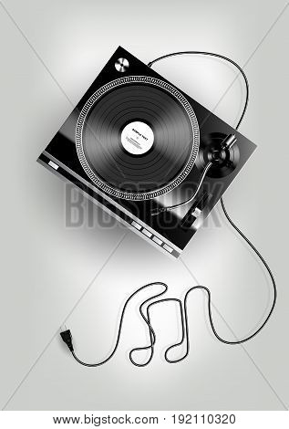 Vinyl record player on grey background, advertisement, Vector illustration