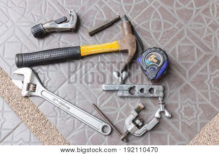 Air Tools Working for air conditioning background