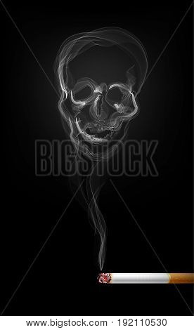 Illustration of skull shaped smoke, cigarette, illustration