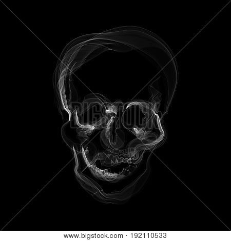 Smoke in form of a human skull, no smoking concept, illustration