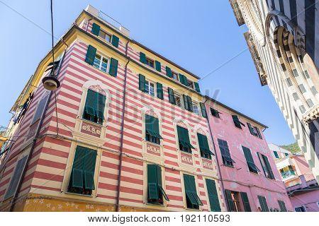 House facades Monterosso Cinque Terre Liguria Italy.