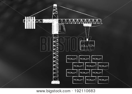 Tower Crane Putting A Solution Brick (or Box) Above A Group Of Problems