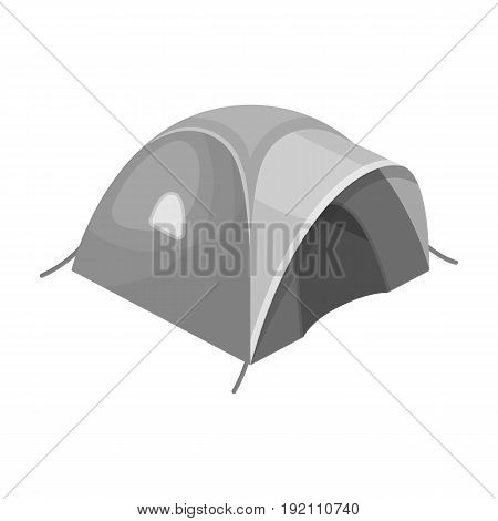 Tent tourist with awning.Tent single icon in monochrome style vector symbol stock illustration .