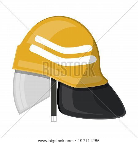 Firefighter helmet. Fire equipment. Vector illustration in flat style