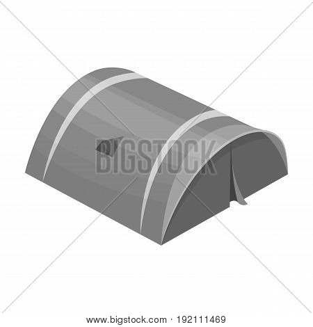 The tent is round.Tent single icon in monochrome style vector symbol stock illustration .