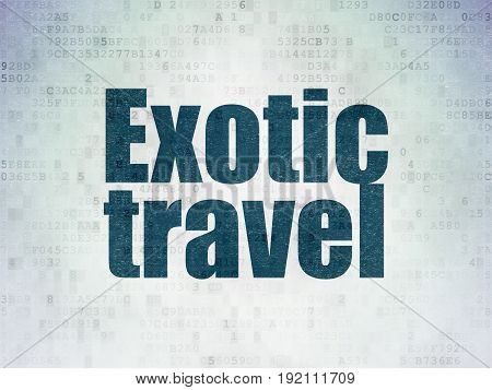 Vacation concept: Painted blue word Exotic Travel on Digital Data Paper background