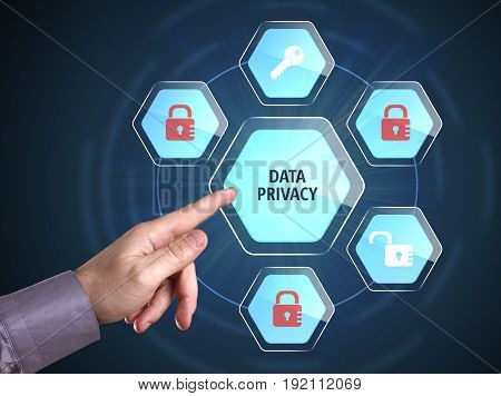 Business, Technology, Internet And Network Concept. Young Businessman Shows The Word: Data Privacy