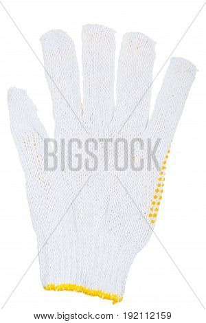 Working glove with yellow rubber dots isolated on white background