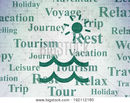 Tourism concept: Painted green Beach icon on Digital Data Paper background with  Tag Cloud