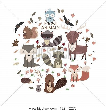 Cartoon Forest Animals Pack. Cute Animal Vector Set. Bear, Fox, Wolf, Hedgehog, Beaver, Moose, Hare, Deer. Forest Animals Toys.