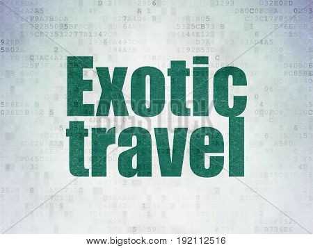 Vacation concept: Painted green word Exotic Travel on Digital Data Paper background