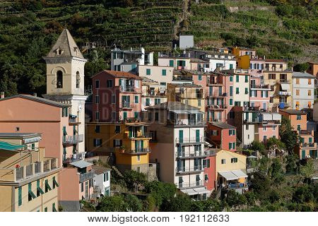 Manarola, Italy, June 2, 2017 : Traditional Architecture Of The Village Of The Cinque Terre National