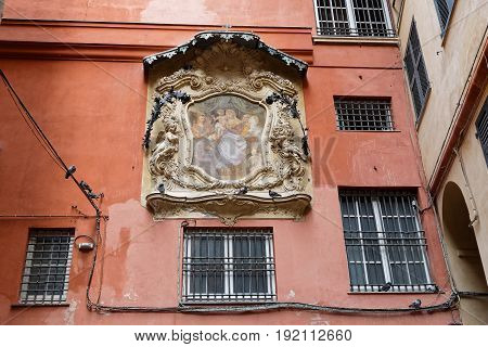 Genoa, Italy, June 5, 2017 : A Baroque Small Street In Genoa City Center. Genoa Is The Capital Of Th