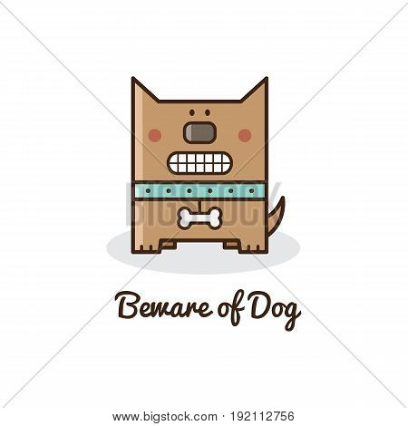 Beware of dog. Vector illustration of a dog.