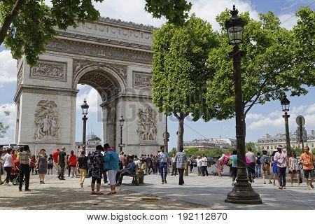 Paris, France, June 15, 2017 : Tourists Visit The Place Charles De Gaulle, Historically Known As The