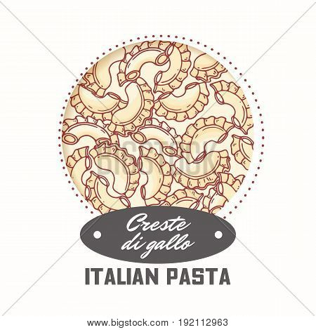 Sticker with hand drawn pasta creste di gallo isolated on white. Template for food package design. Vector illustration