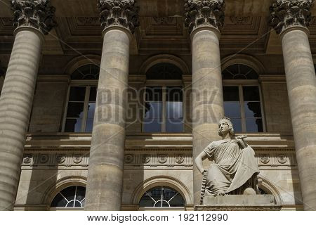 Paris, France, June 16, 2017 : The Building Of Historical Paris Stock  Exchange, Known As The Palais