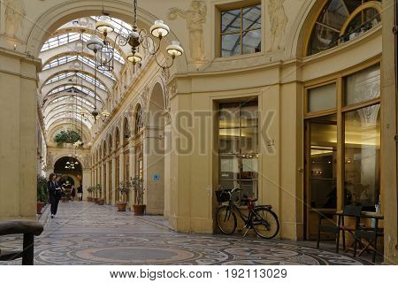 Paris, France, June 16, 2017 : The Galerie Vivienne Is One Of The Famous Covered Passages Of Paris.