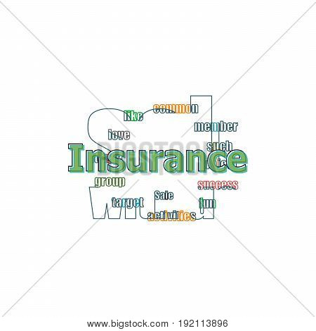 Word Insurance On Digital Screen, Business Concept . Logo Design Template Elements For Your Applicat
