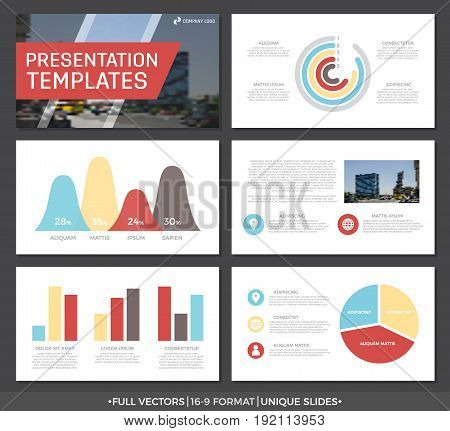 Set of blue, yellow and red elements for multipurpose presentation template slides with graphs and charts. Leaflet, corporate report, marketing, advertising, annual report, book cover design.